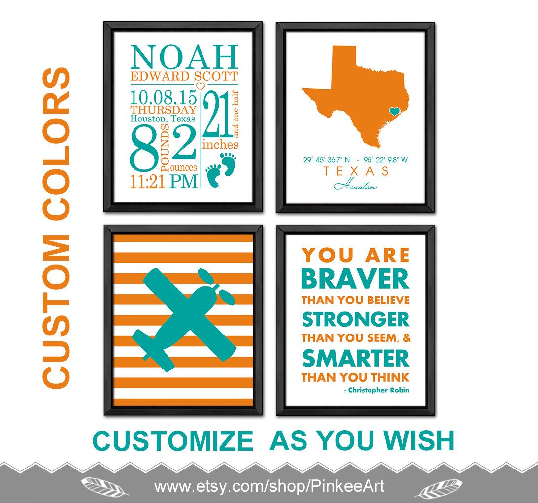 Personalized baby gifts airplane birth stats wall art baby boy personalized baby gifts airplane birth stats wall art baby boy nursery you are braver baby boy negle Gallery