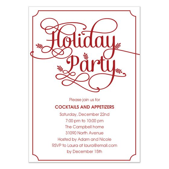 holiday invitations - Google Search Typographie \ Illustrations - holiday party invitation