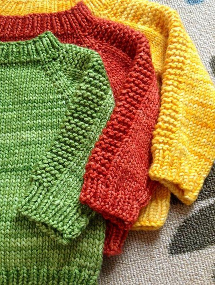 Photo of baby pullover stricken gelb grün und rot #stricken baby schlafsack Baby Pullove…