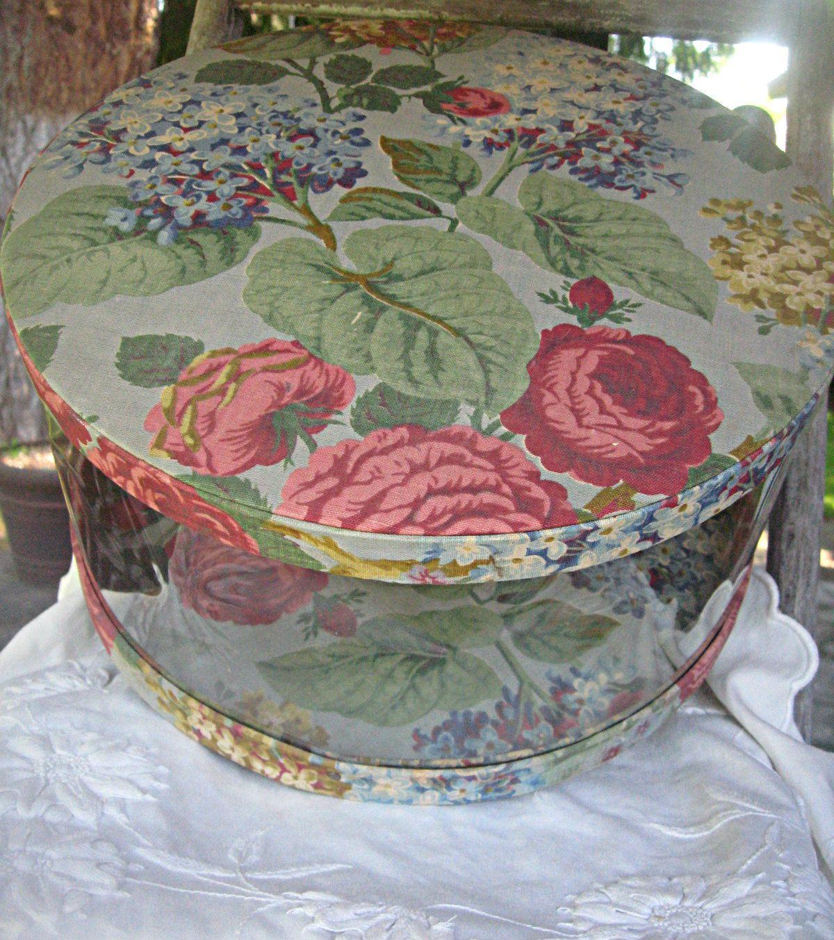 Vintage Clear Hat Box Floral Hat Box Peonies/hydrangeas Hatbox Studio Storage  Storage Box Closet