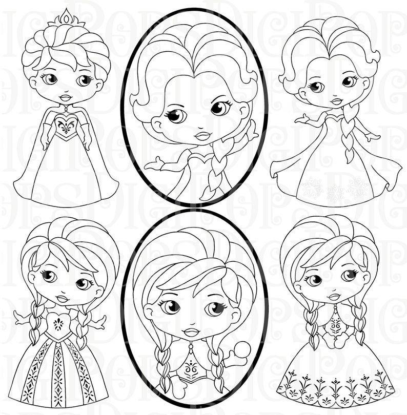 Snow Princess Black And White Digital Clip Art Set Personal Etsy In 2021 Digital Clip Art Set Digital Clip Art Hello Kitty Coloring