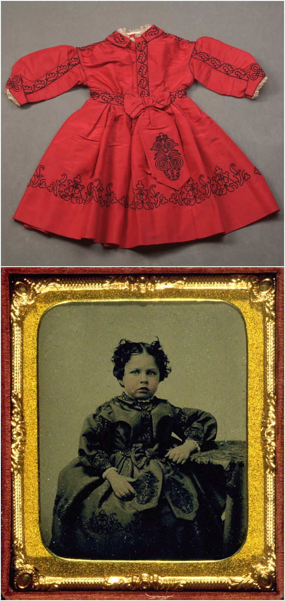 Top: Child's dress, 1865. Bottom: Portrait of Emily Tucker at age four, 1864, wearing the same dress. De Young Museum.
