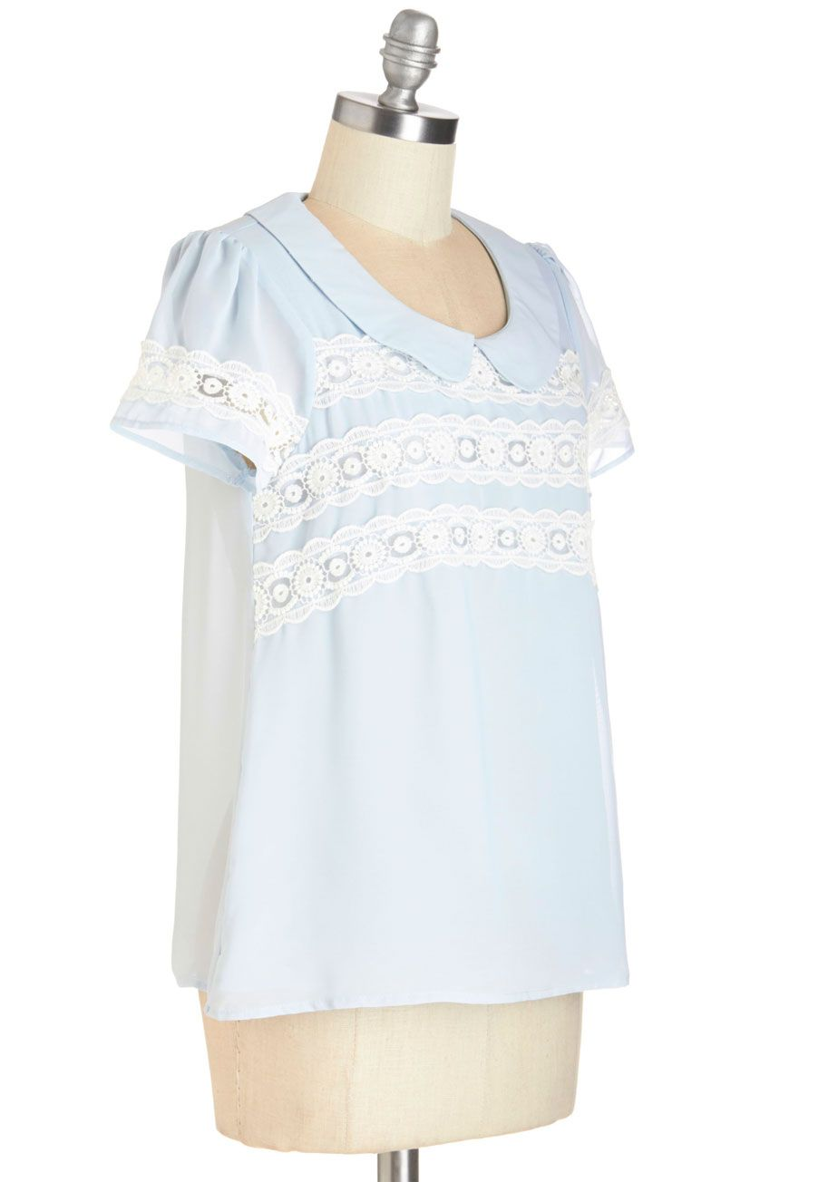 Arcadian Dreams Top. When you don this diaphanous powder-blue top, your mind is whisked off into serene surroundings. #blue #modcloth
