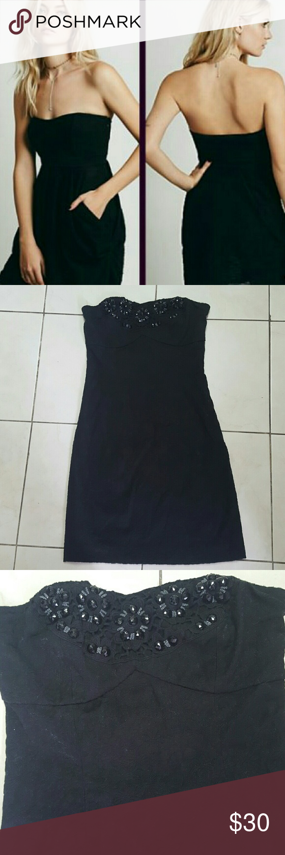 "Free People black strapless bodycon dress #1 NWOT Excellent condition black bodycon dress Beading at the Chest area Side zipper Mocked back Faint metellic shimmer  Measurements: Chest 13""; Waist 12.5""; Length 26""  Material: 30% Nylon; 67% Cotton; 3% Spandex Free People Dresses Strapless"