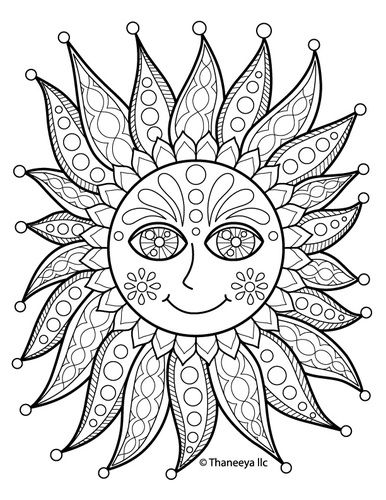 Colorable Iron On Transfer Of A Happy Sun Featuring The Art Thaneeya McArdle