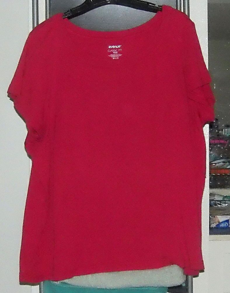 AVENUE CLASSIC FIT S/S Red 100% Cotton Top 30/32 #Avenue #KnitTop #Casual
