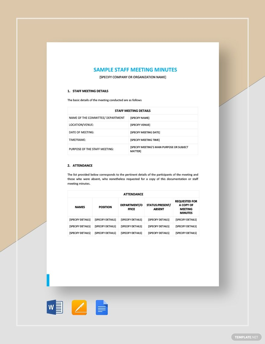Minimalist Meeting Minutes Template Free Pdf Google Docs Word Apple Pages Template Net Templates Word Doc Business Icons Design