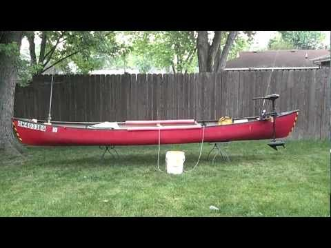 My fishing canoe setup with trolling motor mount youtube for Fishing canoe setup