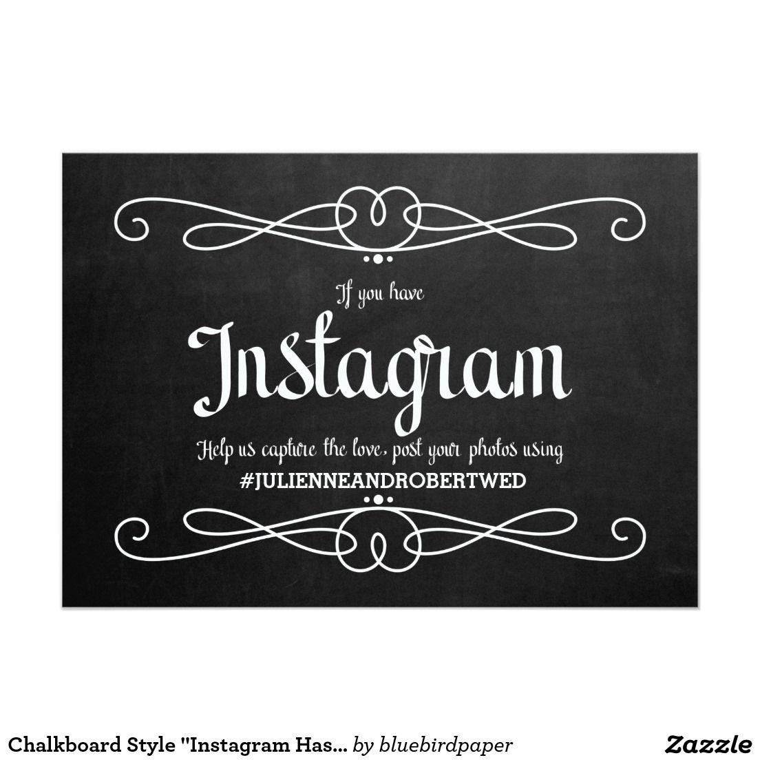 "Wedding Hairstyle Hashtags: Chalkboard Style ""Instagram Hashtag"" Wedding Sign"