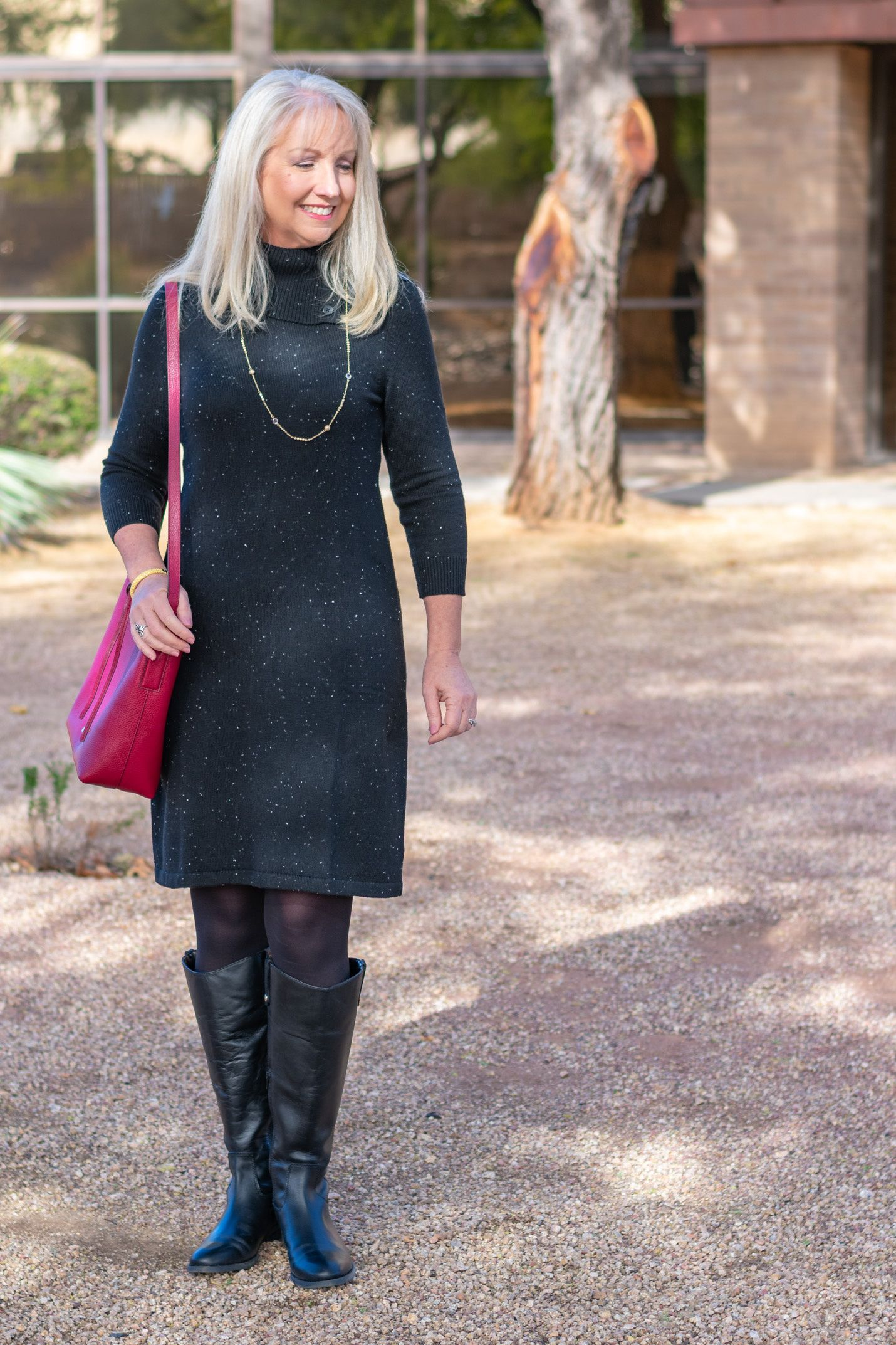 black sweater dress with boots