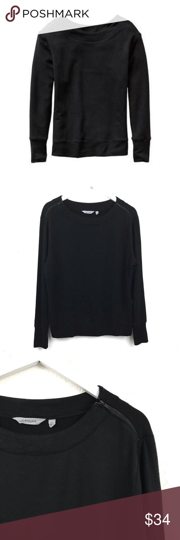 Athleta Studio Boatneck Sweatshirt Zip Shoulder M Zip Sweatshirt Sweatshirts Women Sweatshirts [ 1740 x 580 Pixel ]