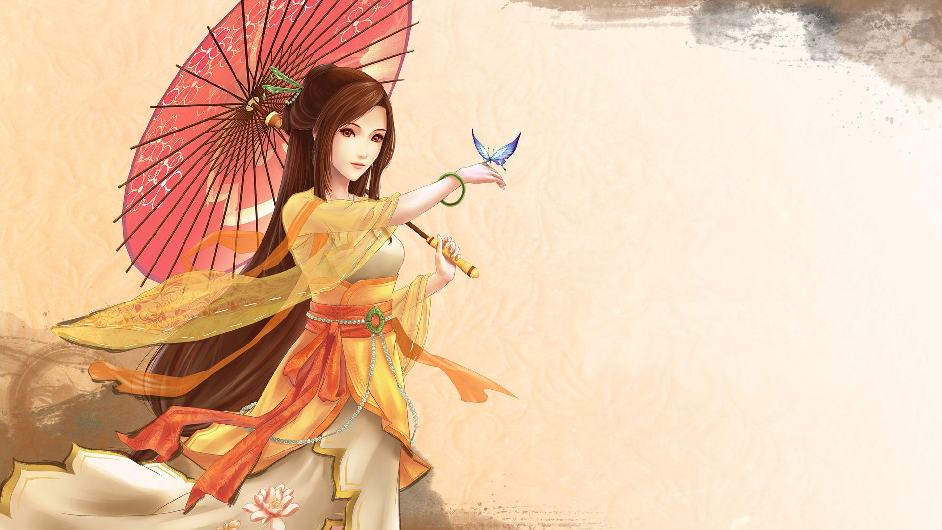 Japanese Women Art Hd Wallpaper Anime Butterfly Anime Fantasy Girl
