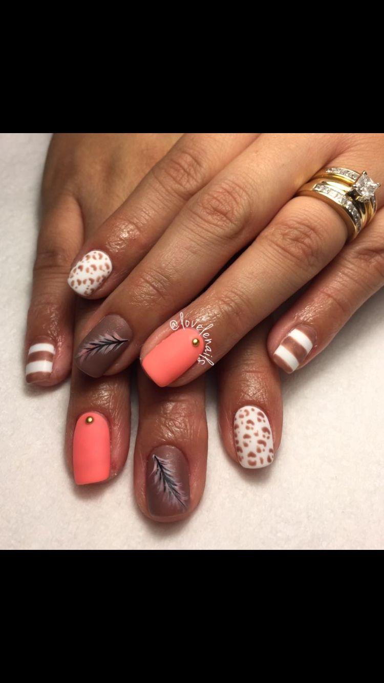 Shellac Matte Fall Nails Orange White Brown Gold Nails Nails Gold Nails How To Do Nails