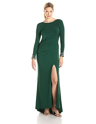 Eliza J Women's Long Sleeve Beaded Gown  Long sleeve fitted gown with beaded cuffs and ruched back detail Stretch fit with ruching at side at shoulders Stretch fit with ruching at side at shoulders Bateau neck with beaded sleeves  http://www.artydress.com/eliza-j-womens-long-sleeve-beaded-gown/