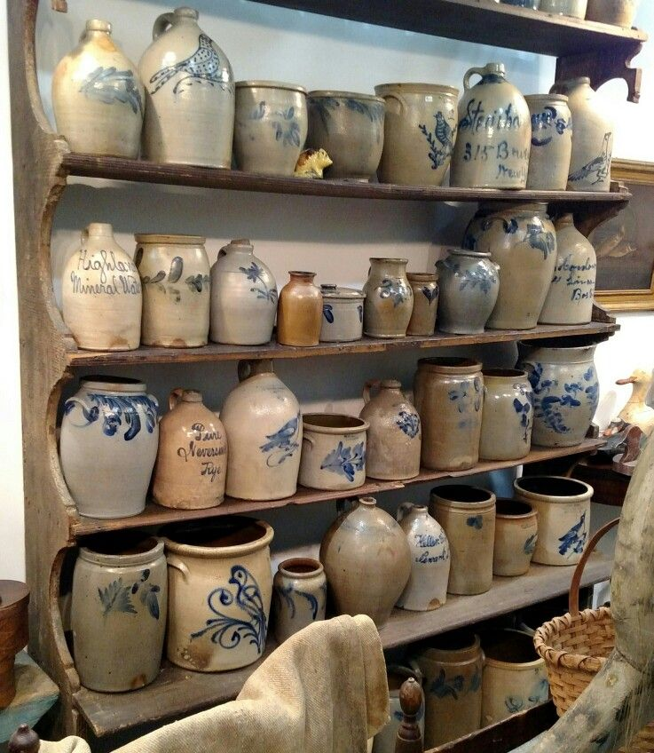 Early American Stoneware Collection Antique Crocks Primitive Decorating Country Antique Stoneware