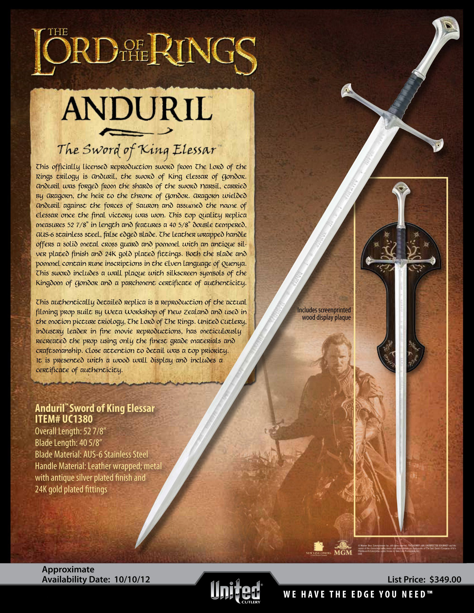 Anduril Flame Of The West Sword Of Aragorn King Elessar Formed