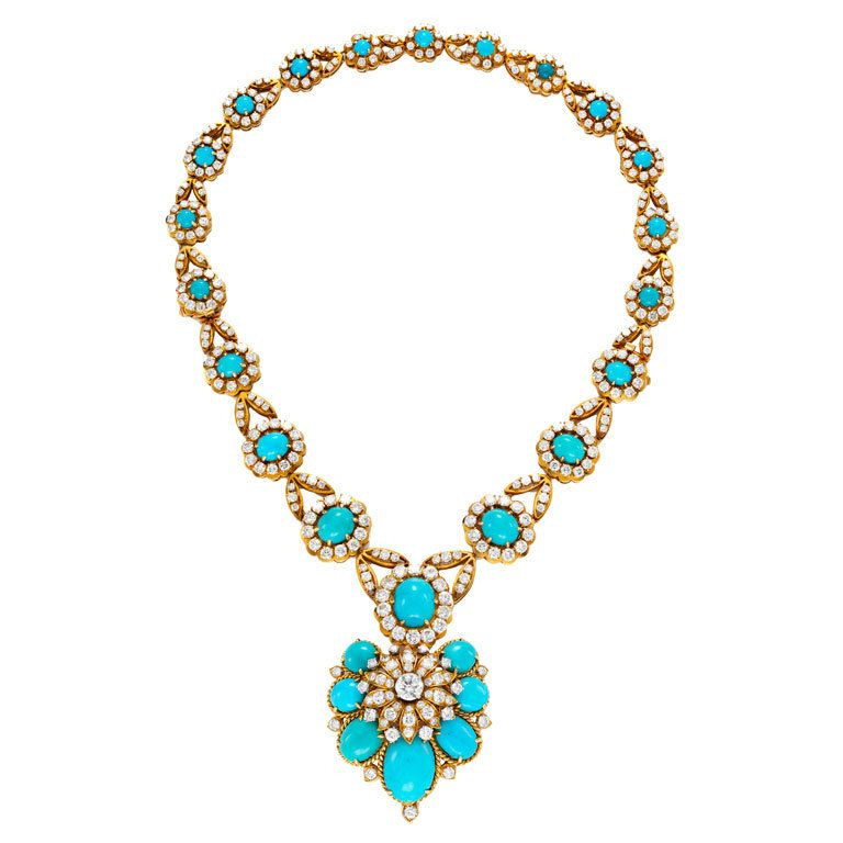 VAN CLEEF & ARPELS Turquoise and Diamond Necklace | From a unique collection of vintage drop necklaces at http://www.1stdibs.com/jewelry/necklaces/drop-necklaces/