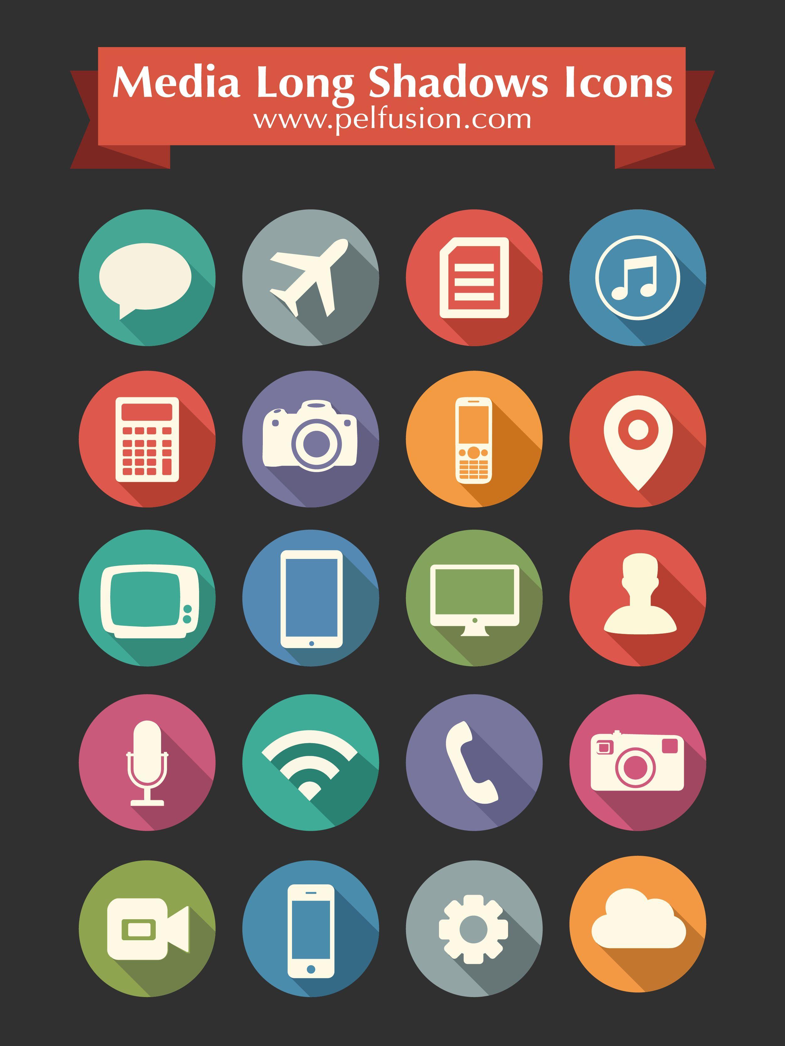 20 Free Flat Long Shadow Media Icons Long Shadow Icon Media Icon