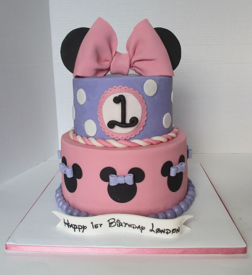 Minnie Mouse 1st Birthday Disney Themed Cakes Minnie Mouse Birthday Cakes Minnie Mouse 1st Birthday Minnie Cake