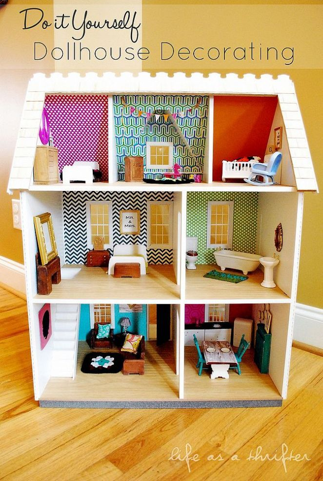 do it yourself dollhouse decorating kinderzimmer spielzeug und puppenm bel. Black Bedroom Furniture Sets. Home Design Ideas