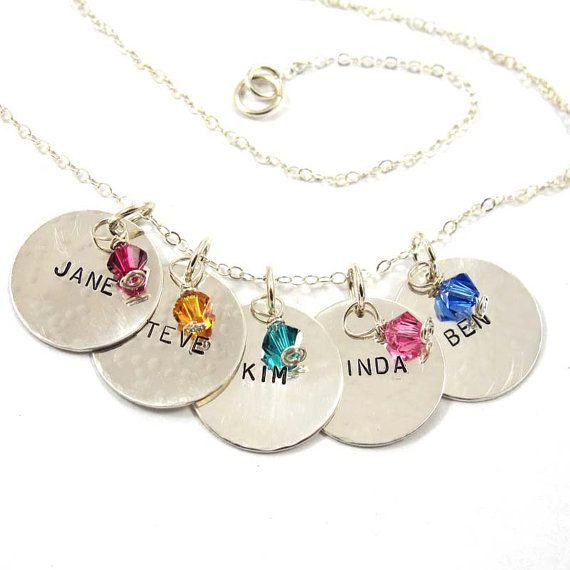 Personalized Necklace 5 Names with Birthstones  by SariGlassman, $75.50