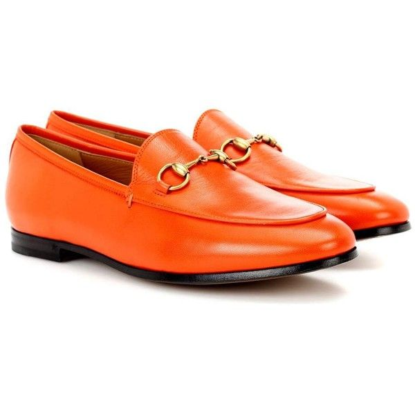 8c0c6af4a Gucci Jordaan Leather Loafers (43,490 INR) ❤ liked on Polyvore featuring  shoes, loafers, orange, leather shoes, gucci, orange leather shoes, loafers  ...