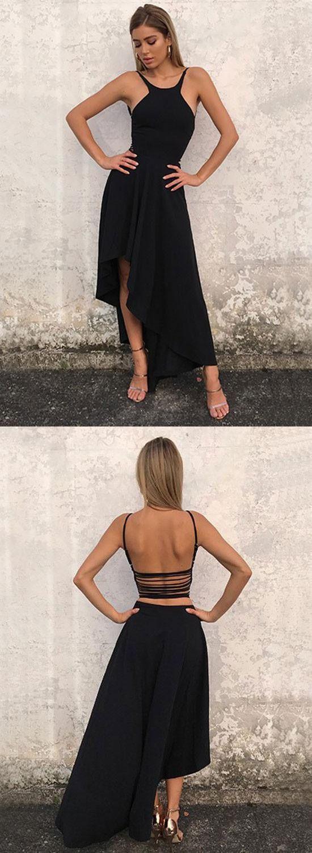 Black prom dreshigh low prom dressshort homecoming dresseshalter
