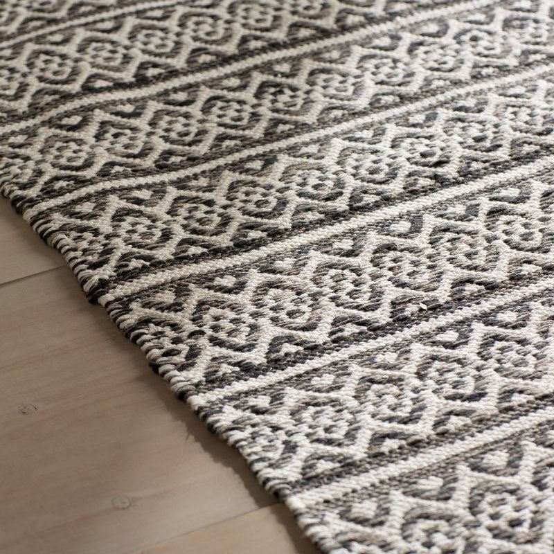 Brenham Geometric Handmade Flatweave Cotton Ivory/Black
