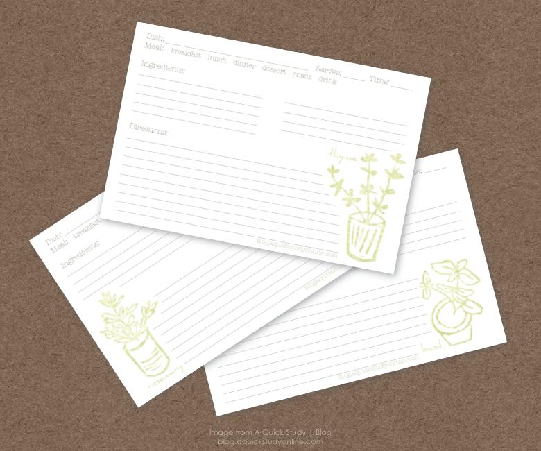 Free Herb Recipe Cards Printable Printable Recipe Cards Recipe Cards Template Pretty Recipe Cards