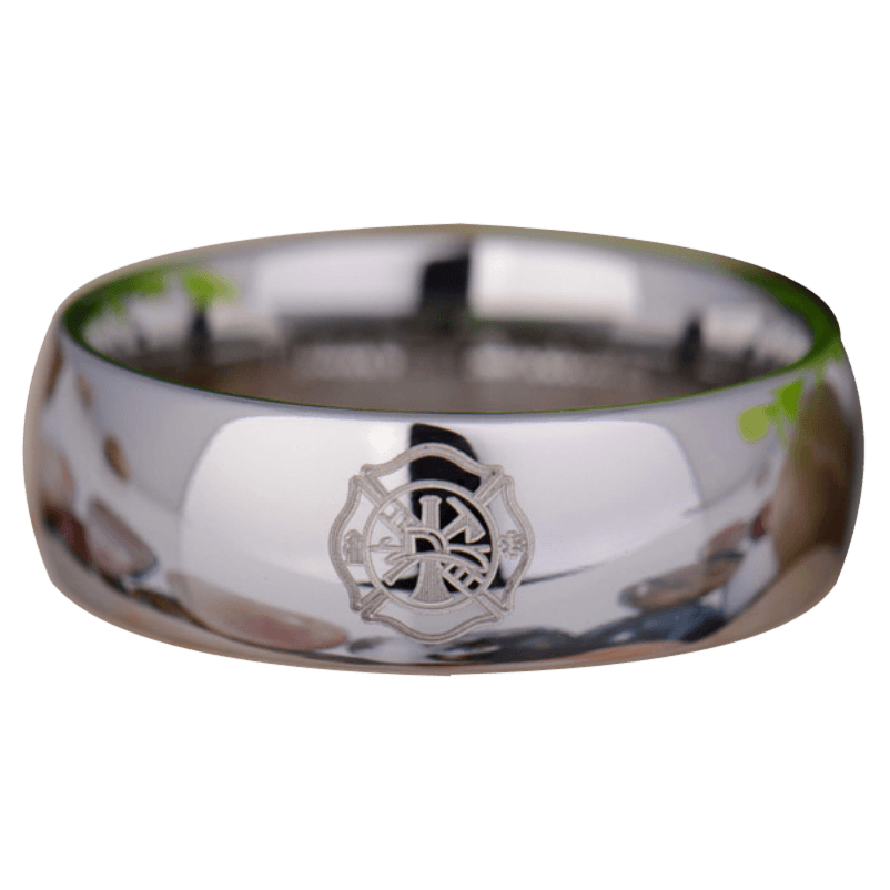 Silver Tungsten Firefighter's Ring from Friends of Irony