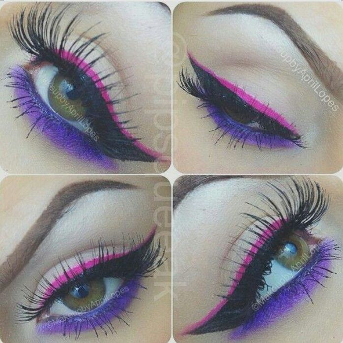 Pink Eyeliner & Purple Eyeshadow