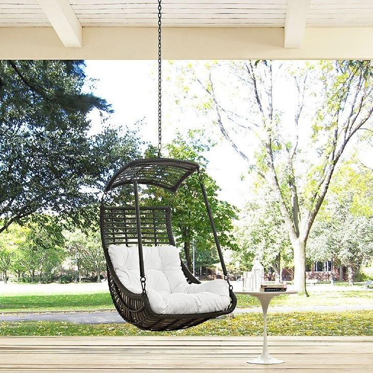 LexMod   Jungle Outdoor Patio Swing Chair Without Stand In White