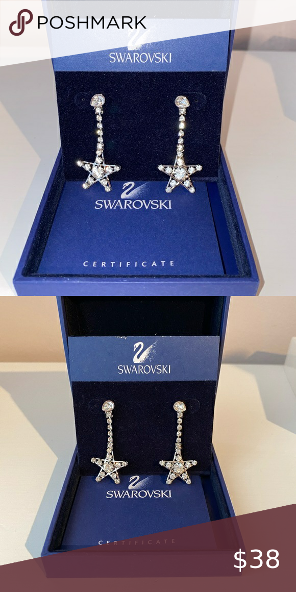 """Swarovski Star Earrings 100% authentic and brand new/ never worn before Swarovski """"Star"""" Earrings. Comes with tag, box, and certificate of authenticity. **CAN BE BUNDLED with Swarovski """"Star"""" earrings for a special price. Swarovski Jewelry Earrings"""