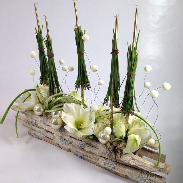 No l amaryllis bougie sapin boule bois merry for Amaryllis fleuriste