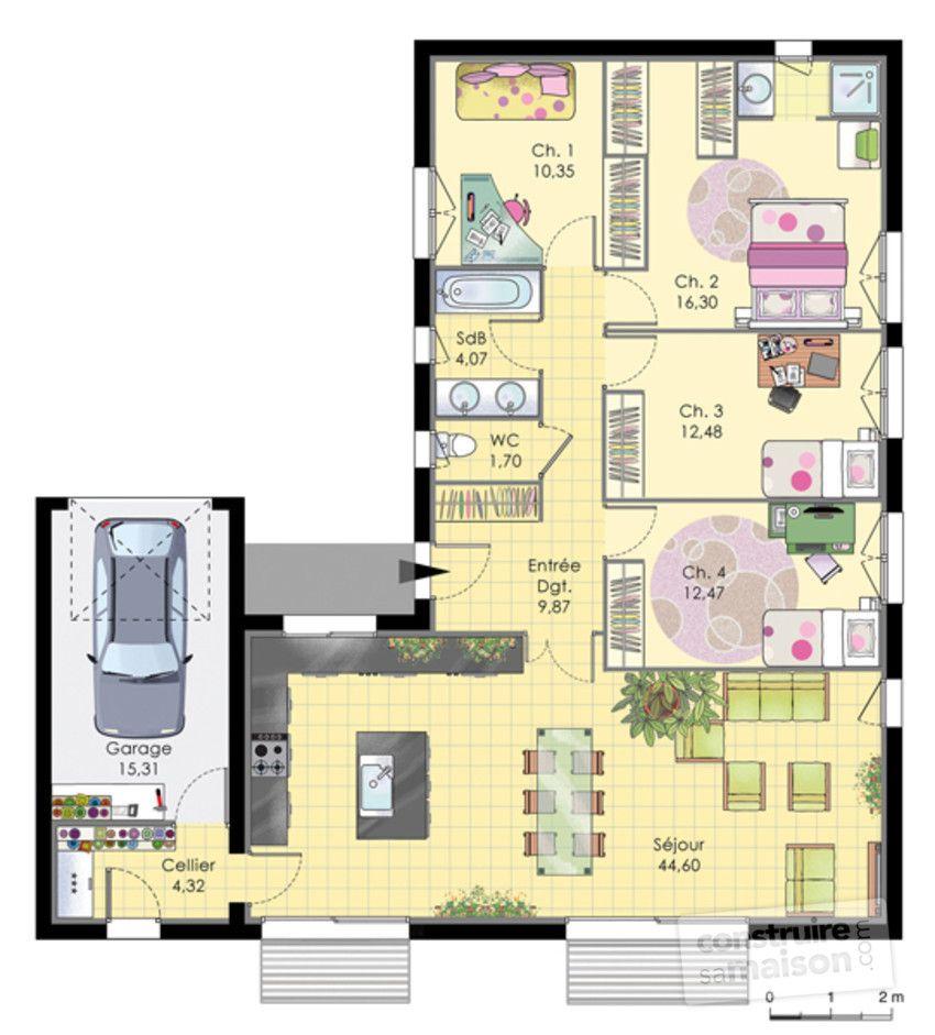 Plan Habillé Rdc   Maison   Maison De Plainpied