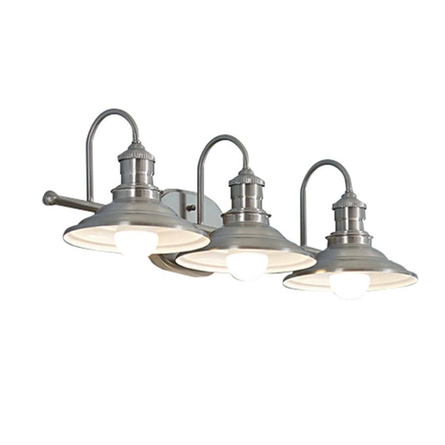 Shop allen roth 3 light hainsbrook antique pewter for Vintage bathroom lighting fixtures
