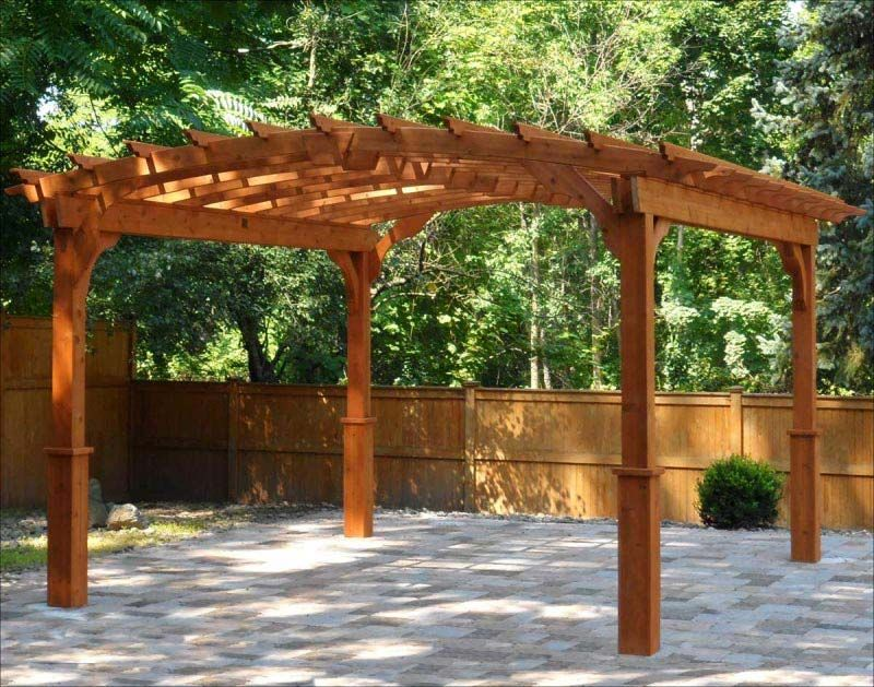 Exterior, Arched Roof Pergola Kits Design With Full Wood Elements With  Simple Legs Shapes With Green And Fresh Courtyard View: Charming Pergola  Kits For ...
