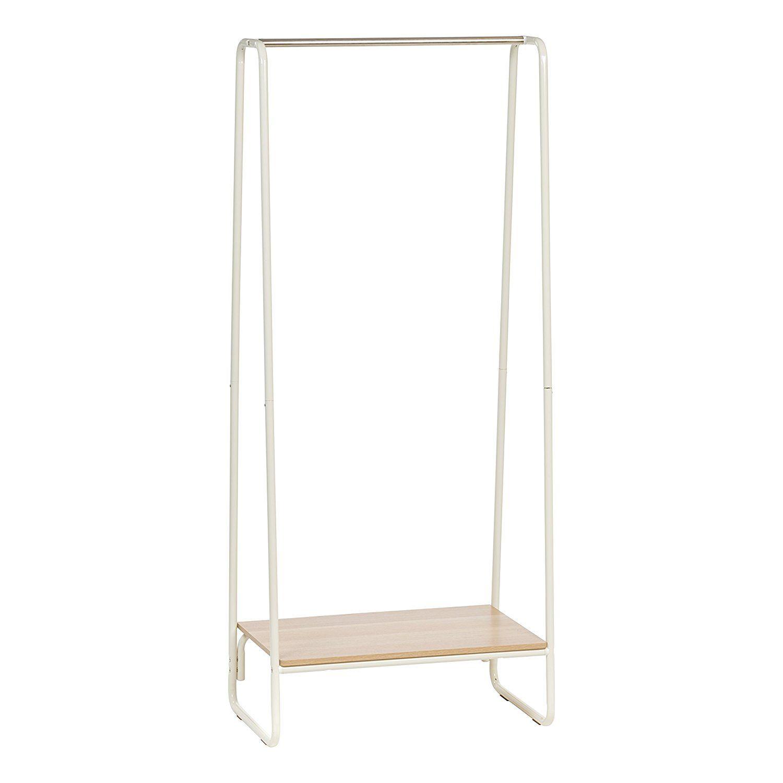 Amazon Com Iris Metal Garment Rack With Wood Shelf White And