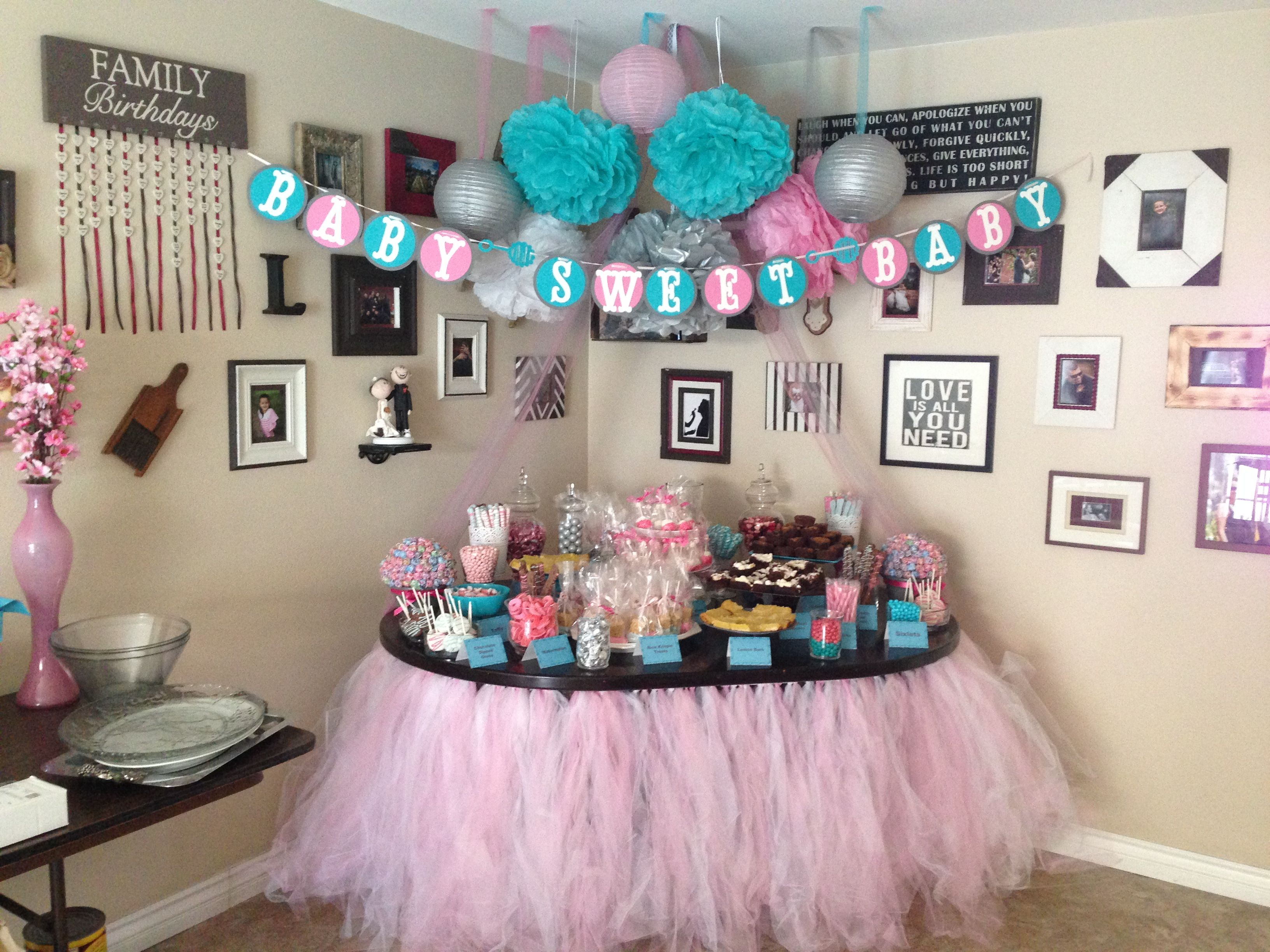 Baby Shower Room Set Up Ideas Dessert table set up Table Set Up, Dessert Table, Sprinkles, Babyshower,  Brooklyn