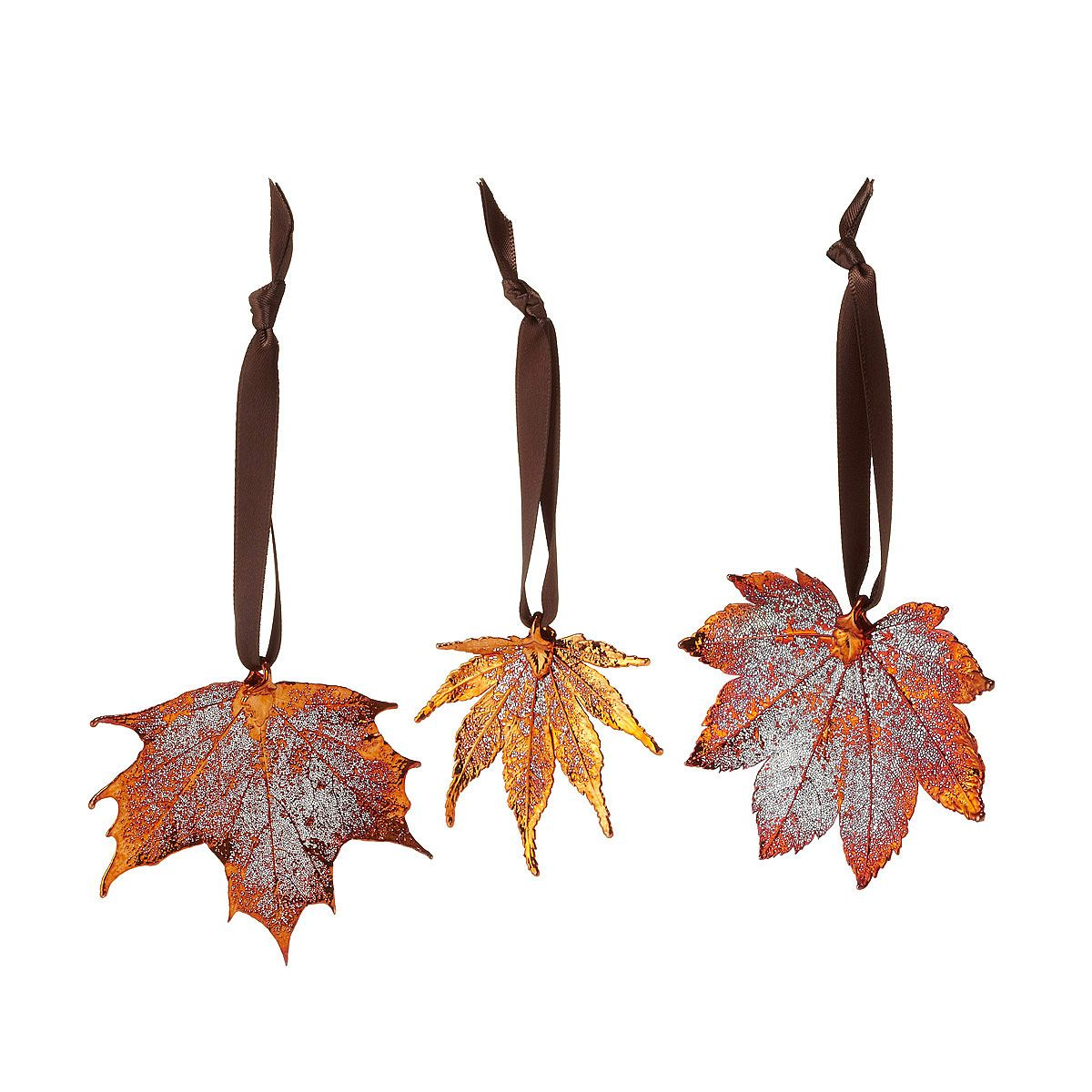 Real Maple Leaf Ornaments - Set of 3 | Beautiful Real ...