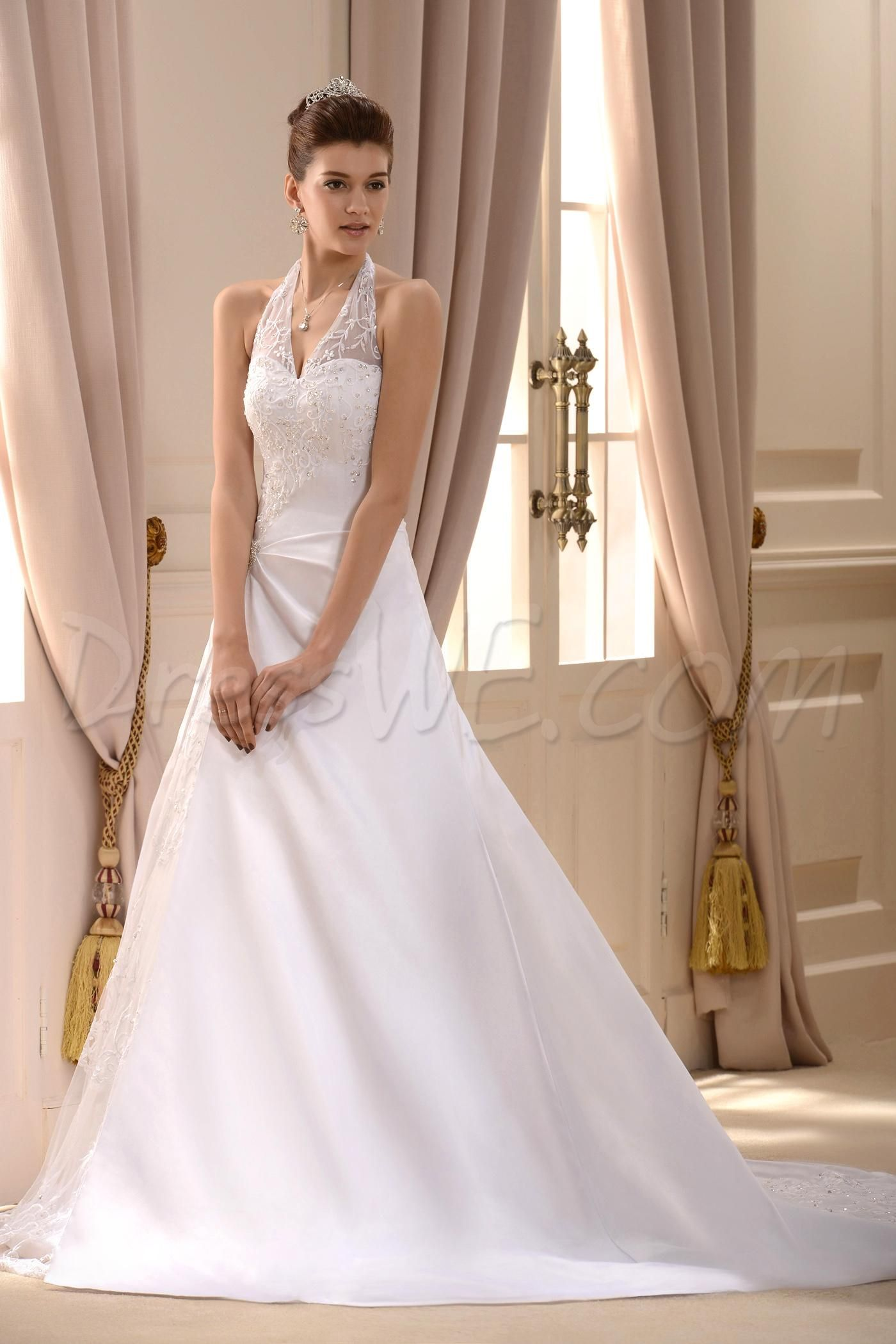 Halter top a line wedding dress for Wedding dress halter top