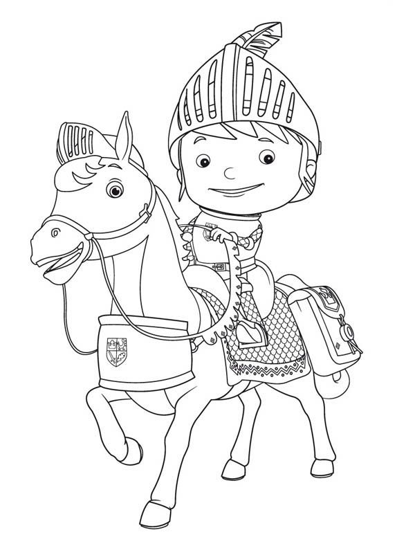 Mike The Kight Riding Galahad The Horse Coloring Page Horse