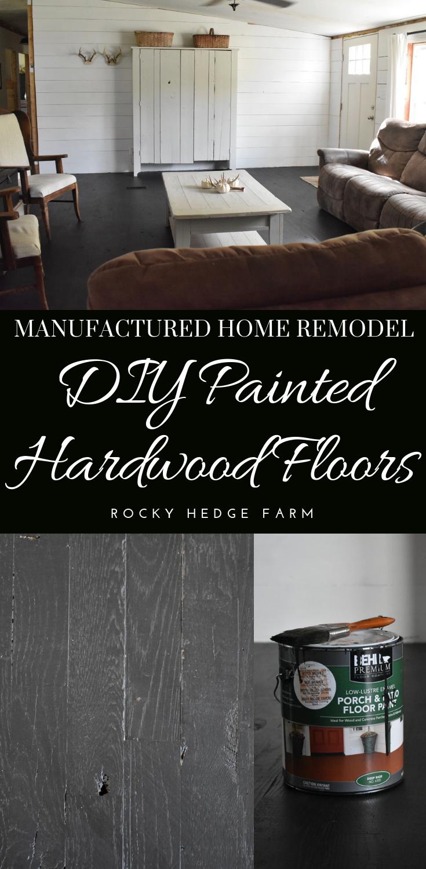 Rustic Black Painted Hardwood Floors Rocky Hedge Farm Painted Hardwood Floors Painted Wood Floors Diy Painted Floors