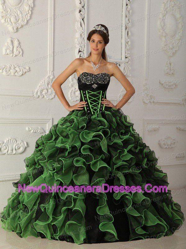 83ebf79a5a Sweet Green Quinceanera Dress Sweetheart Organza Beading Ball Gown ...