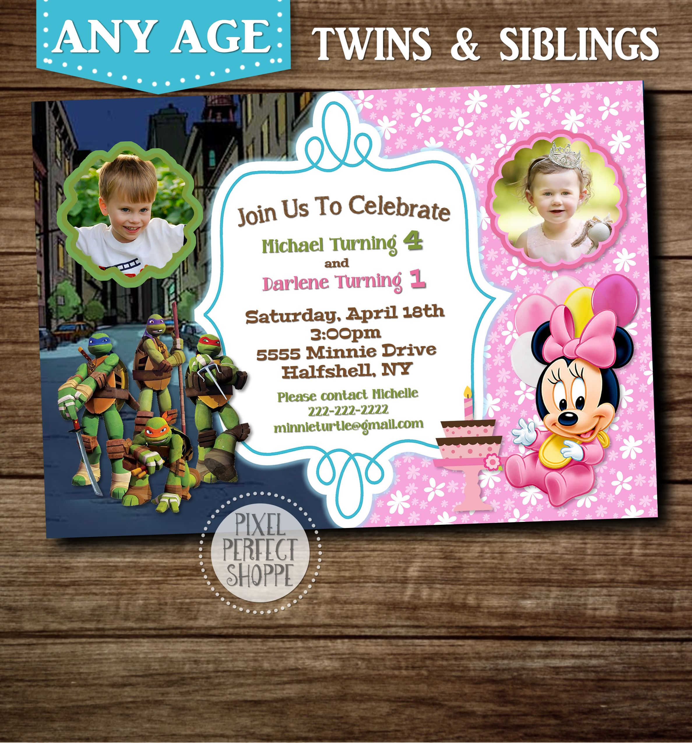 Ninja Turtles and Minnie Mouse baby birthday invitation for boys