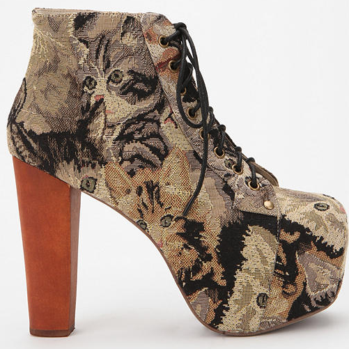 Jeffrey Campbell Cat Tapestry Lita Boot (oh my god they have cats on them)