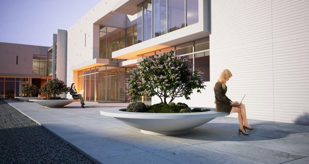 Pot Company: Polymer Concrete Besso Circular Seat Planter 1 of 4