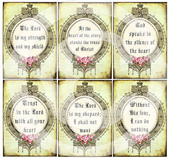 Inspirational quotes - sayings - printable download - digital collage sheet - ornate frame www.landofenchantment.etsy.com