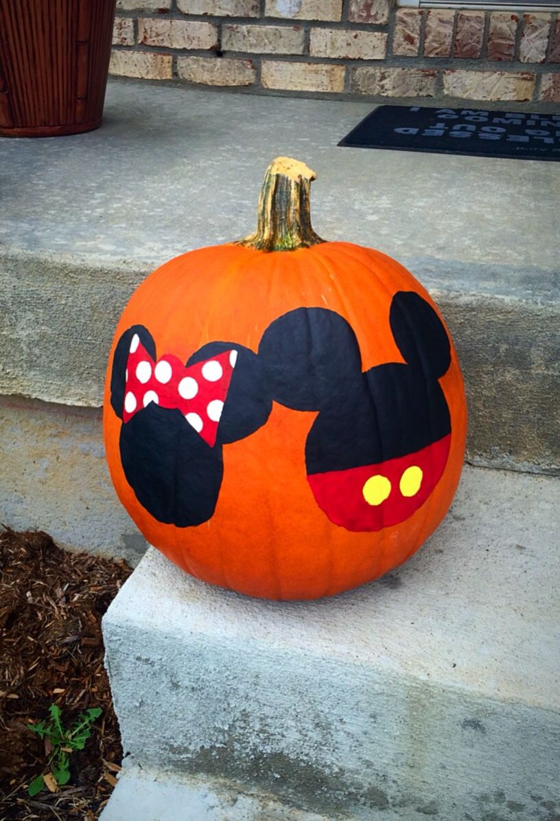 Mickey And Minnie Mouse Pumpkin Mickey Halloween Fall Halloween Crafts Halloween Pumpkins Painted