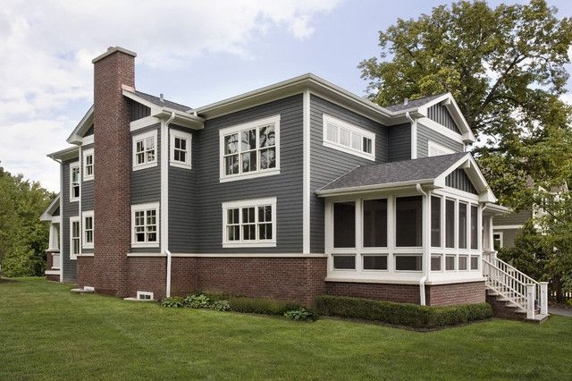 Love Brick And Dark Gray With White Trim Home Exterior
